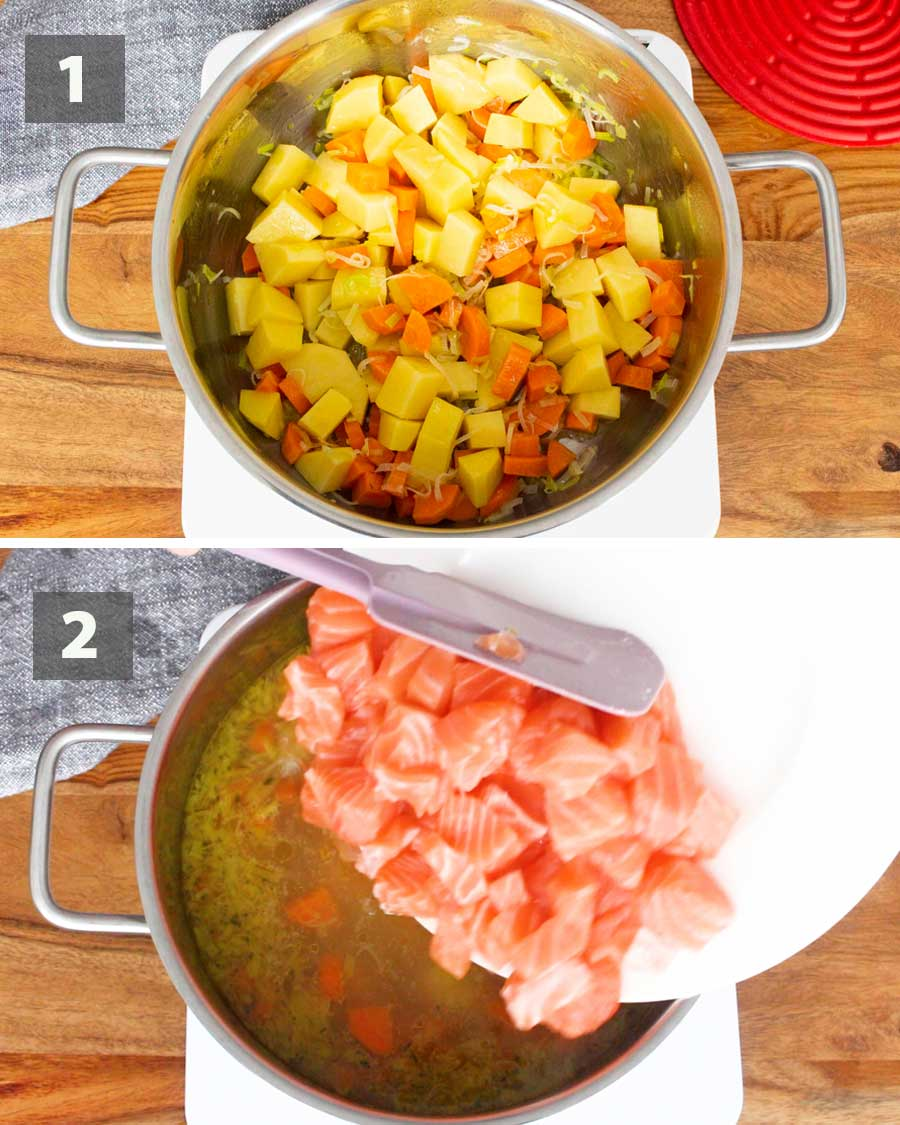 First part of a collage of images showing the step by step process on how to make creamy salmon soup.