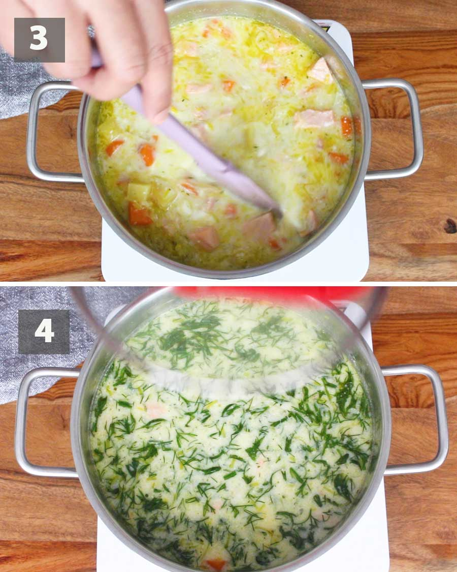 Second part of a collage of images showing the step by step process on how to make lohikeitto.