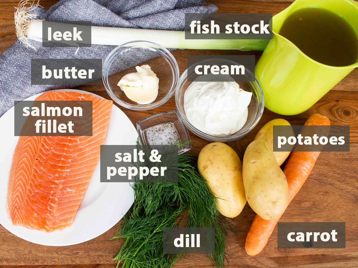 An image showing all the ingredients you need to prepare an easy salmon soup recipe.