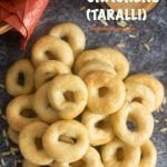 Pinterest Image for Italian Crackers (Taralli). These authentic South Italian snacks are great with coffee, tea or wine!