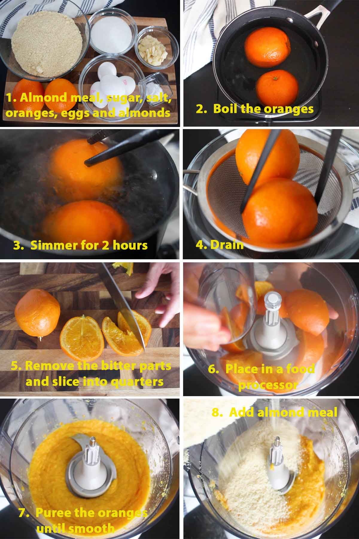 First part of a collage of images showing the step by step process on how to make French Orange and Almond Flourless Cake.