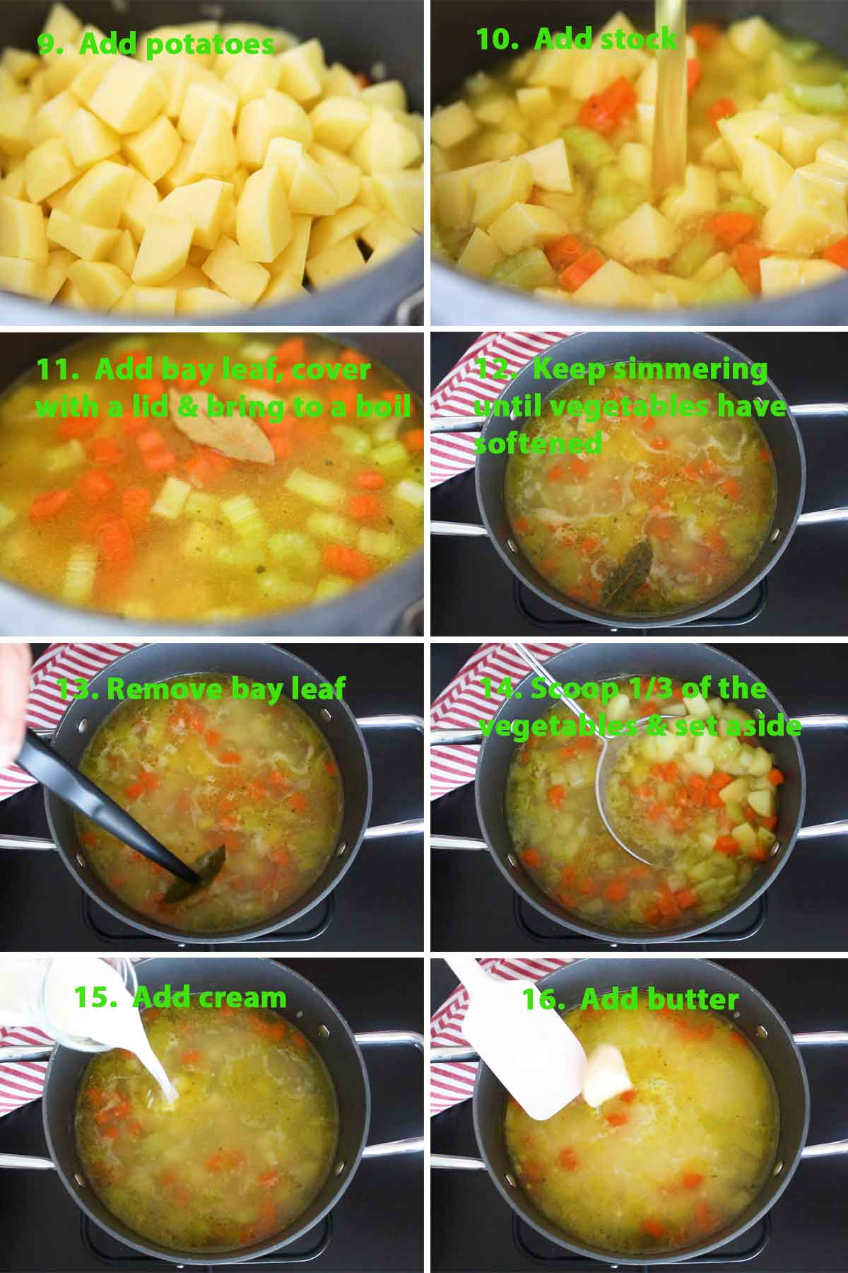 Second part of a collage of images showing the step by step process on how to make German Potato Soup (Kartoffelsuppe). For this part, potatoes are added and softened, before setting some aside. For a creamy potato soup, double cream and butter were added as well.
