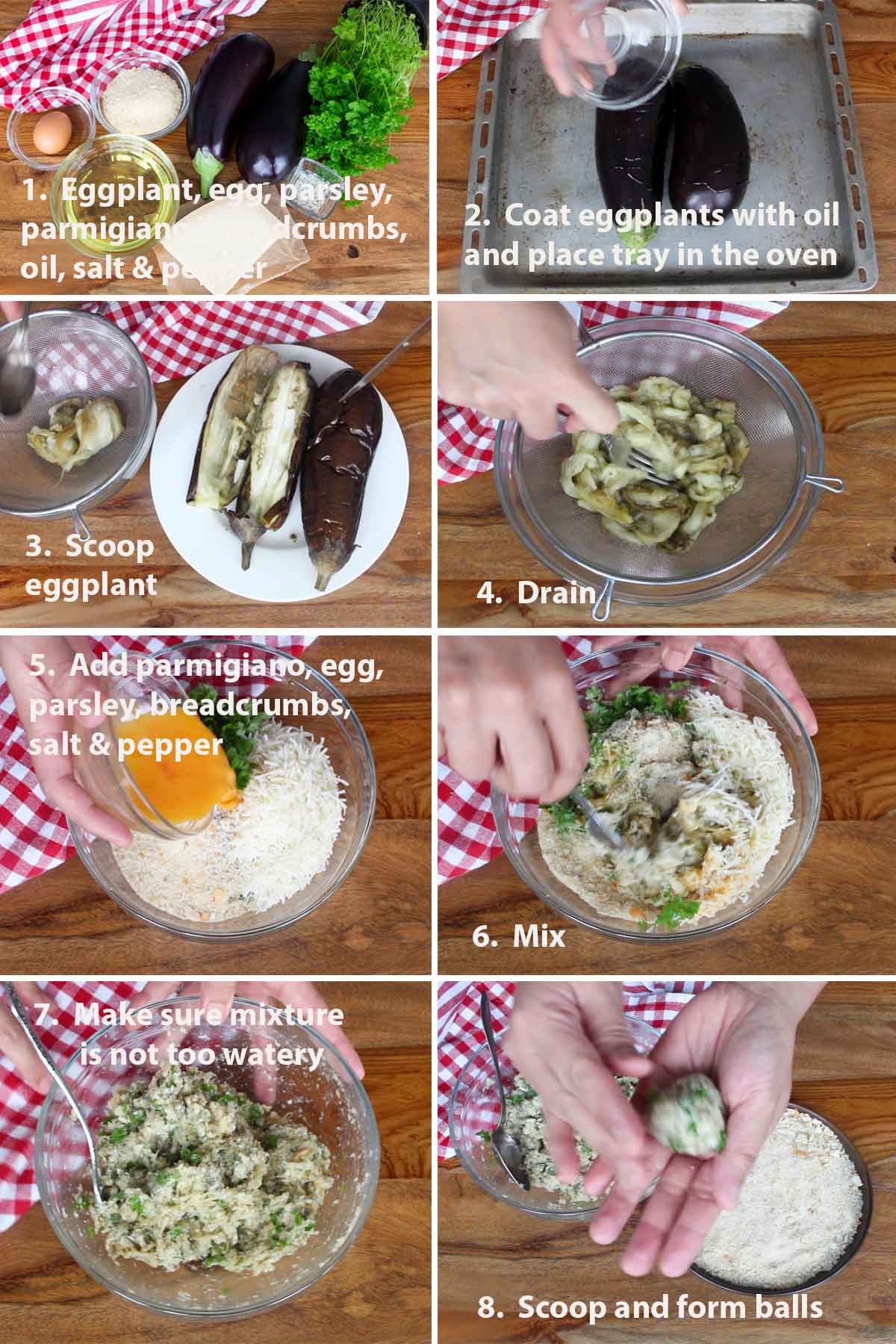 First part of a collage of images showing the step by step process on how to make Eggplant Meatballs (Polpette di Melanzane), including the ingredients needed.