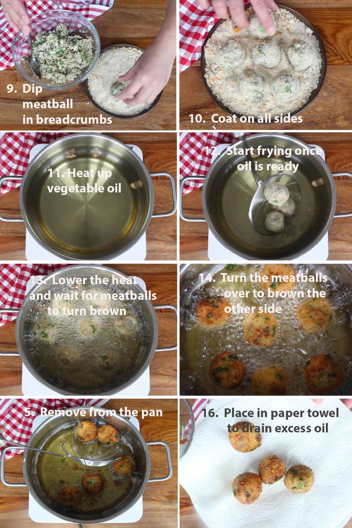 Last part of the collage of images showing the step by step process on how to make Neapolitan Eggplant Meatballs.
