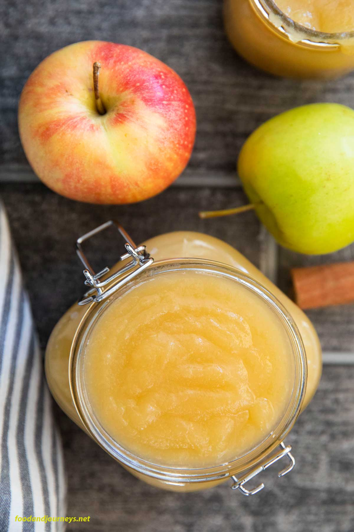 An overhead shot of German Applesauce in a jar, ready for storing.