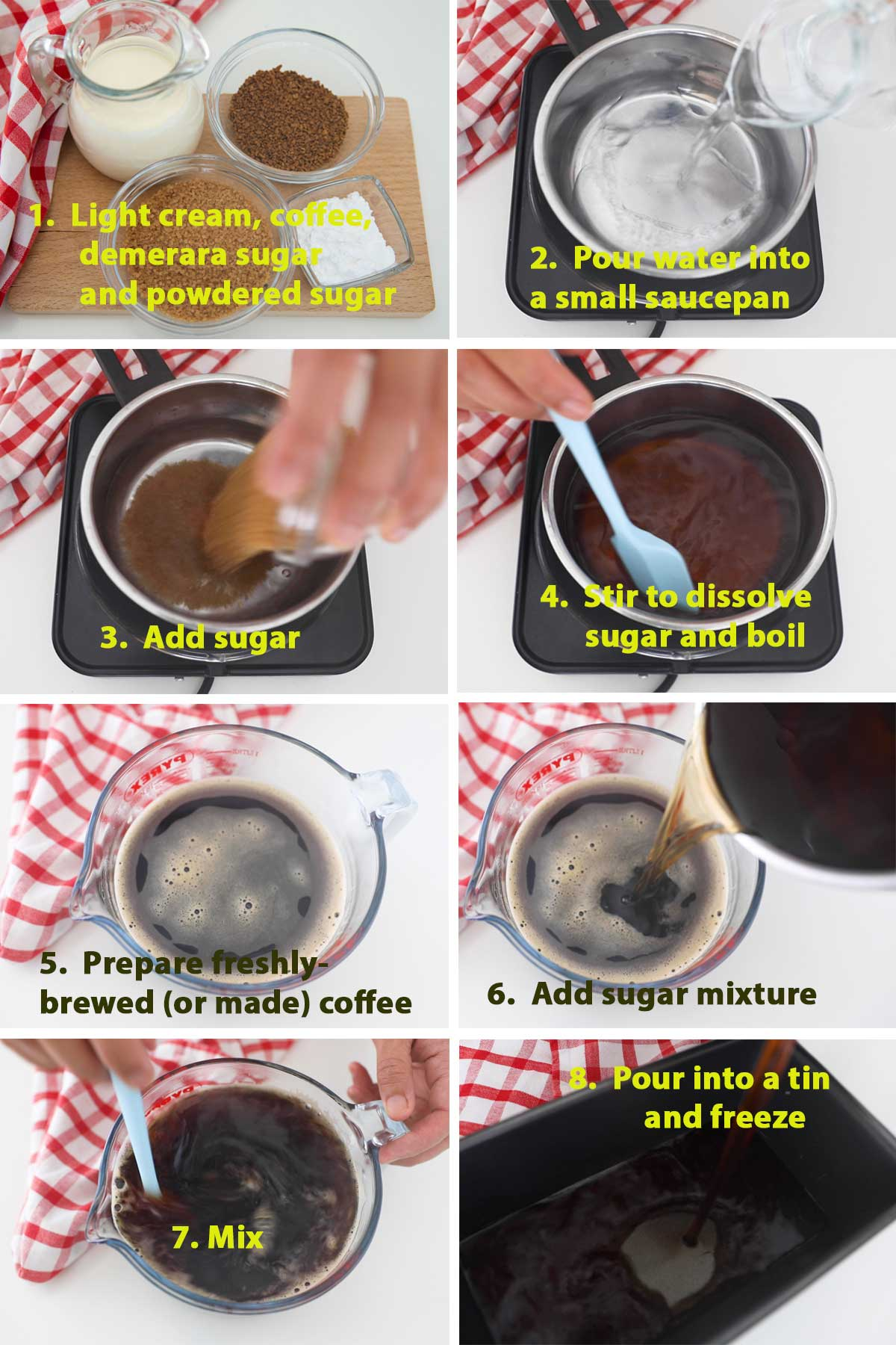 First part of a collage of images showing the step by step process on how to make coffee granita at home.
