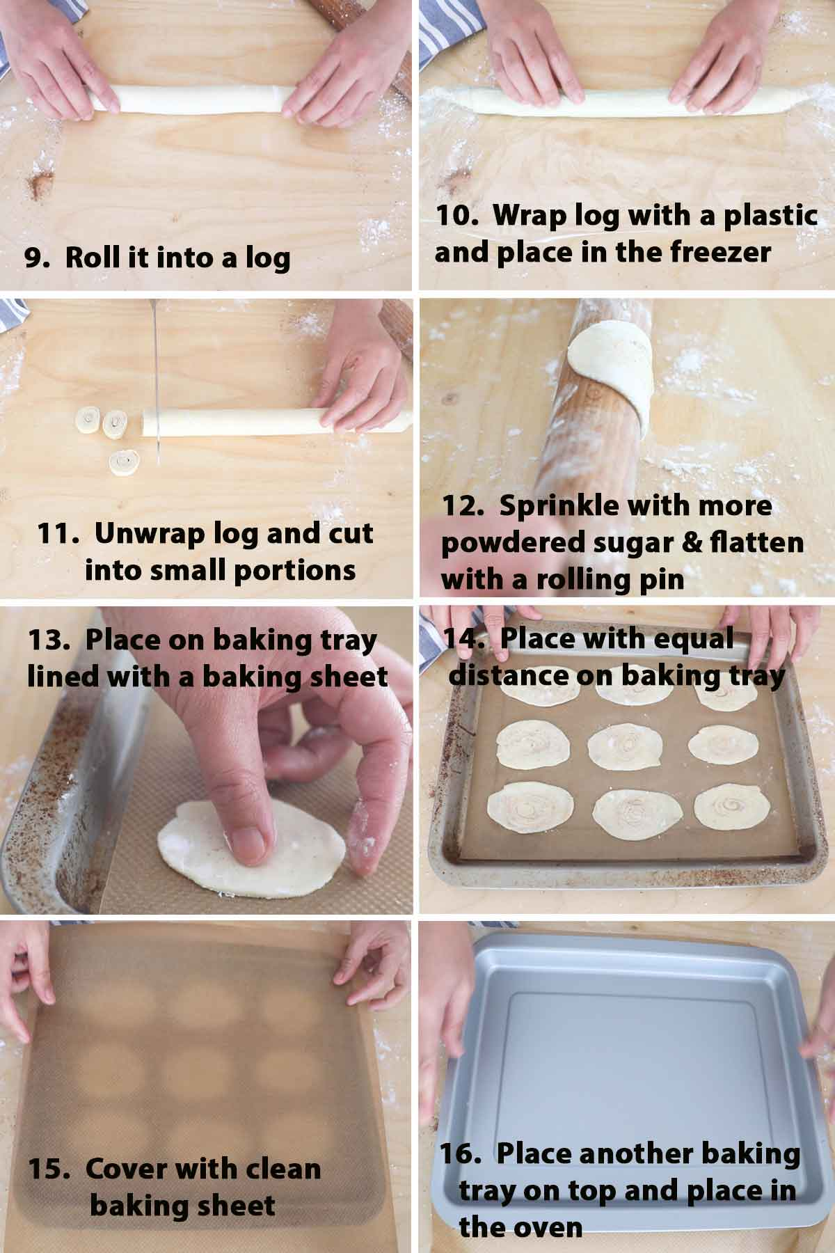 Second part of a collage of images showing the step by step process on how to make puff pastry cookies.