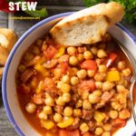 Pinterest image for Spanish Chorizo and Chickpea Stew
