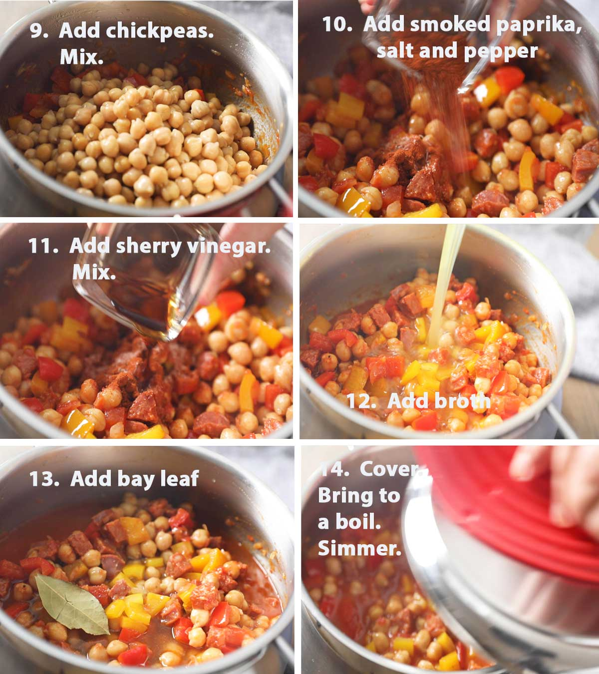 Last part of a collage of images showing the step by step process of how to make Spanish Chorizo and Chickpea Stew.