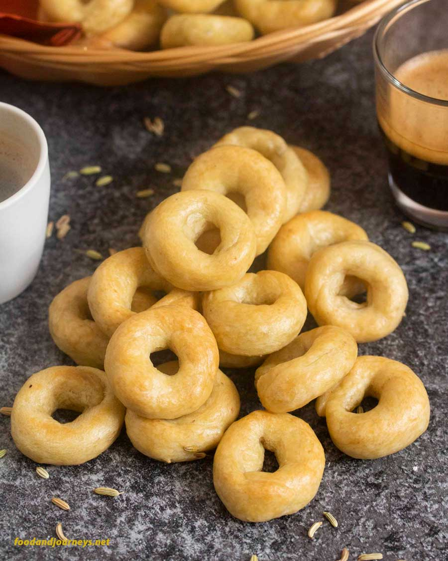 A bunch of freshly made Italian Crackers (Taralli), best served with coffee or espresso.