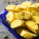 A bowl of freshly baked Swedish Saffron Biscotti, ready for serving