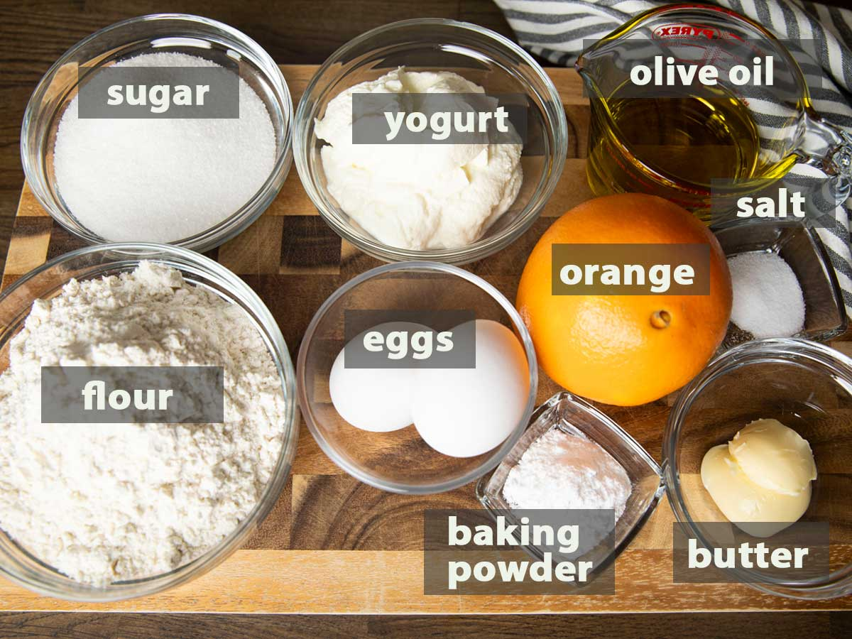 An image showing the ingredients that you need to prepare orange yogurt cake