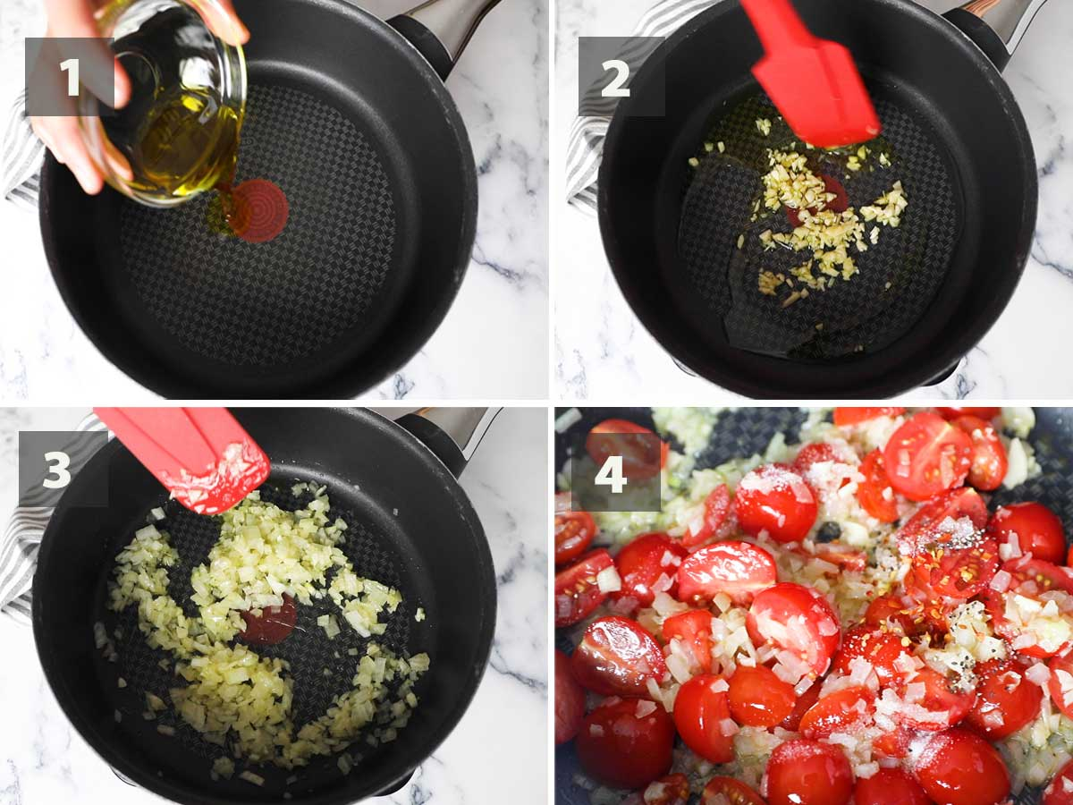 First part of a collage showing the step by step process on how to make Arroz de Tomate.