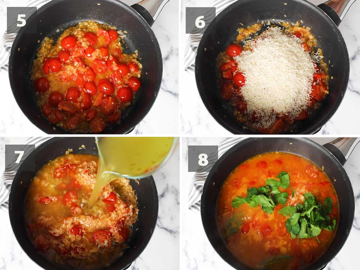 Second part of a collage showing the step by step process on how to make arroz de tomate.