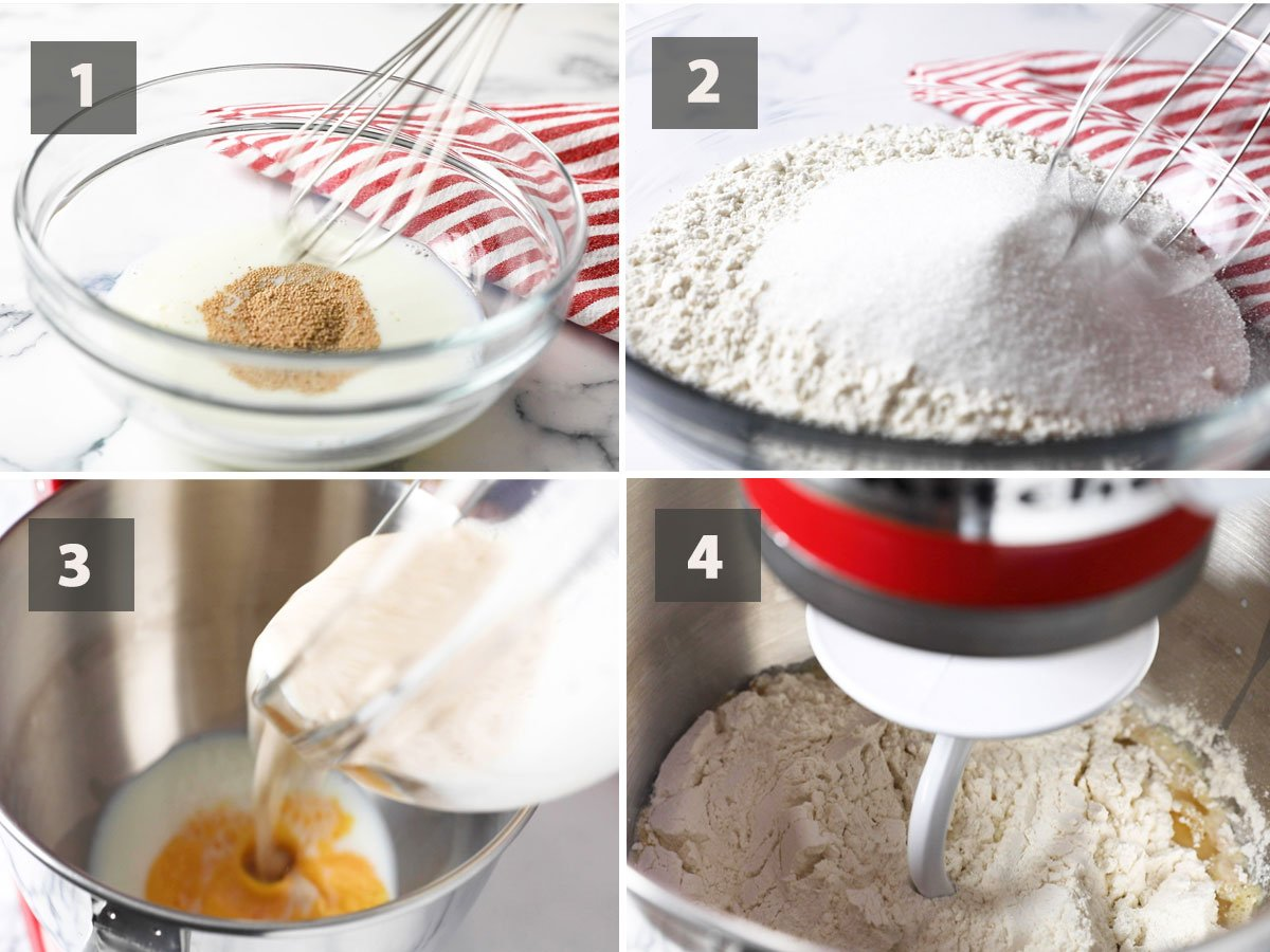 First part of a collage showing the step by step process on how to make Pandesal.