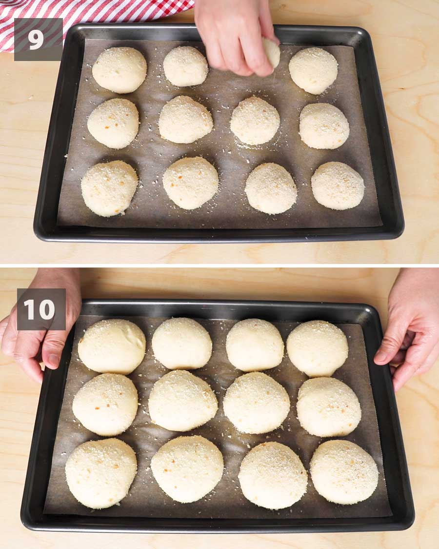Last part of a collage of images showing the step by step process on how to make Pandesal.
