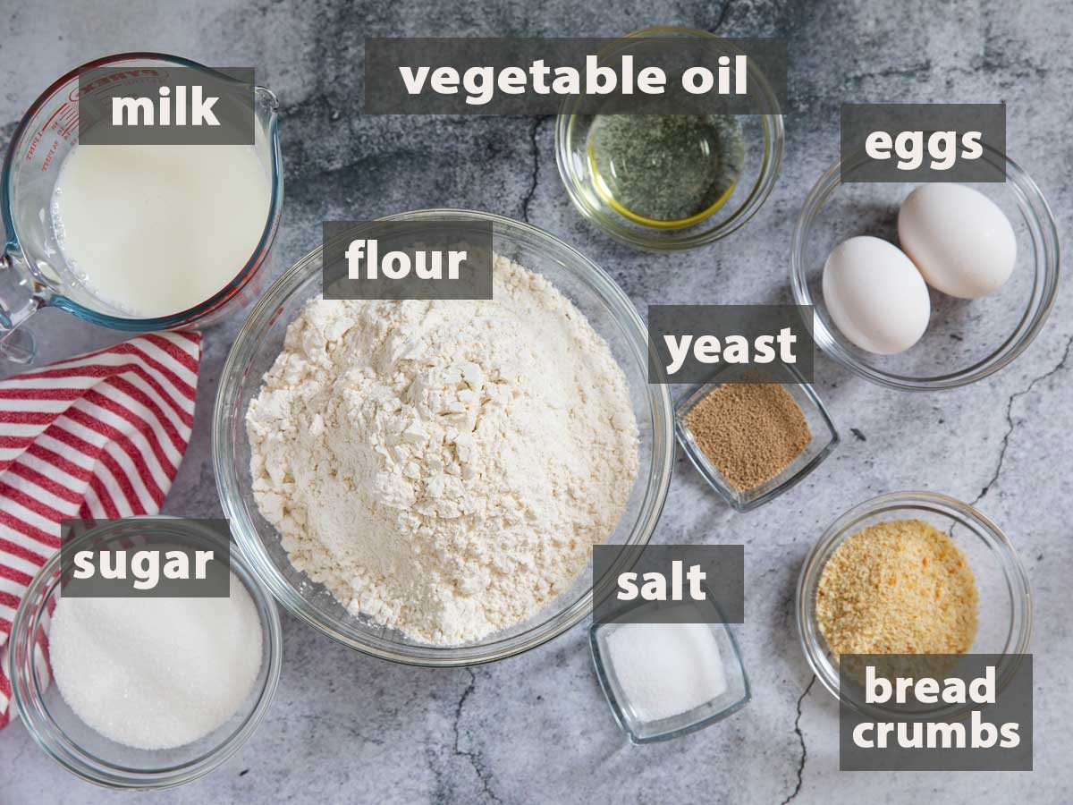 An image showing all the ingredients you need to prepare Filipino Bread Rolls.