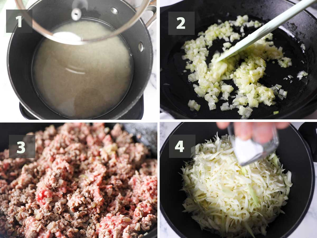 First part of a collage of images showing the step by step process on how to make Beef & Cabbage Casserole.