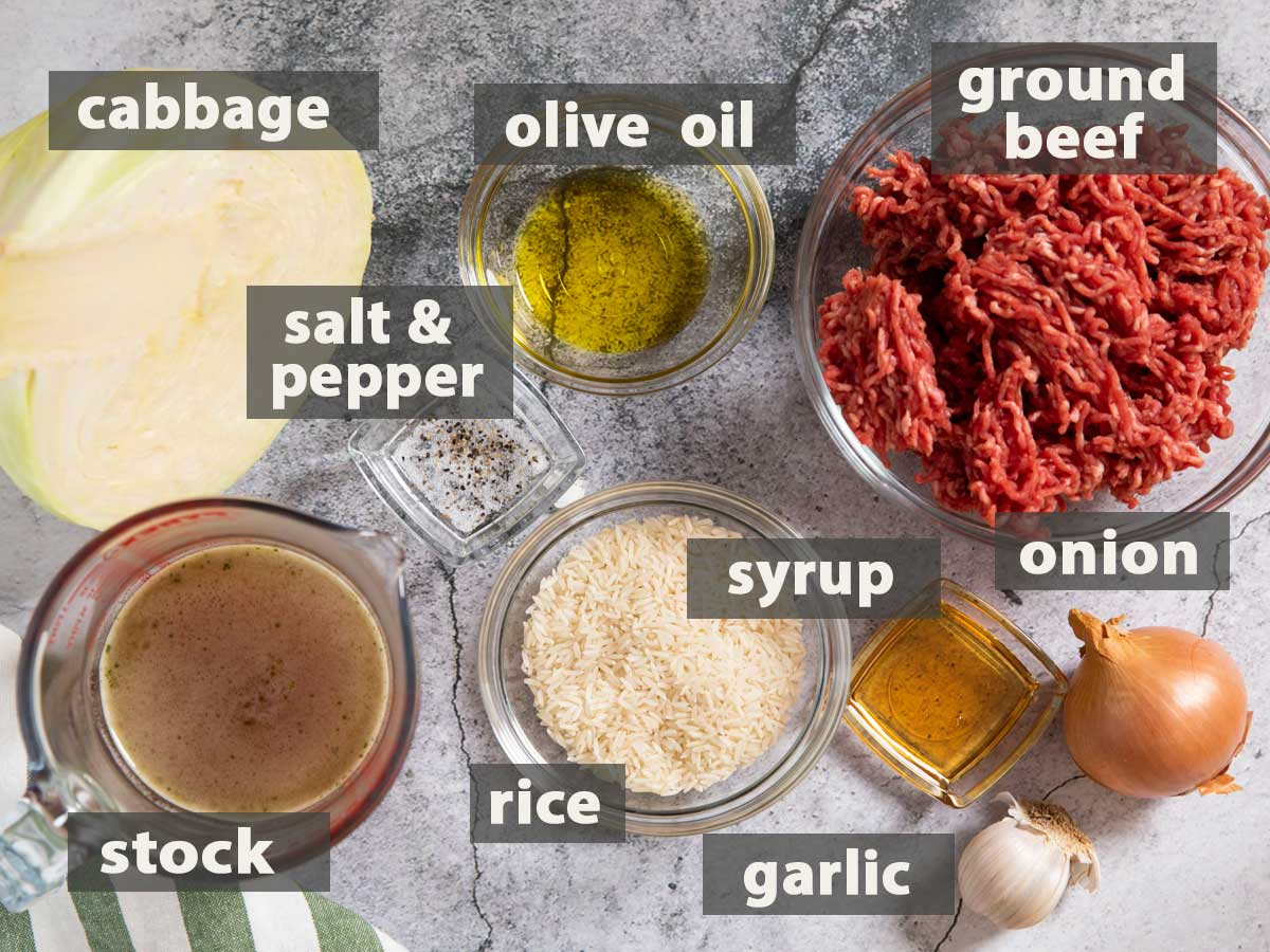 An image of all the ingredients needed to prepare Beef & Cabbage Casserole.