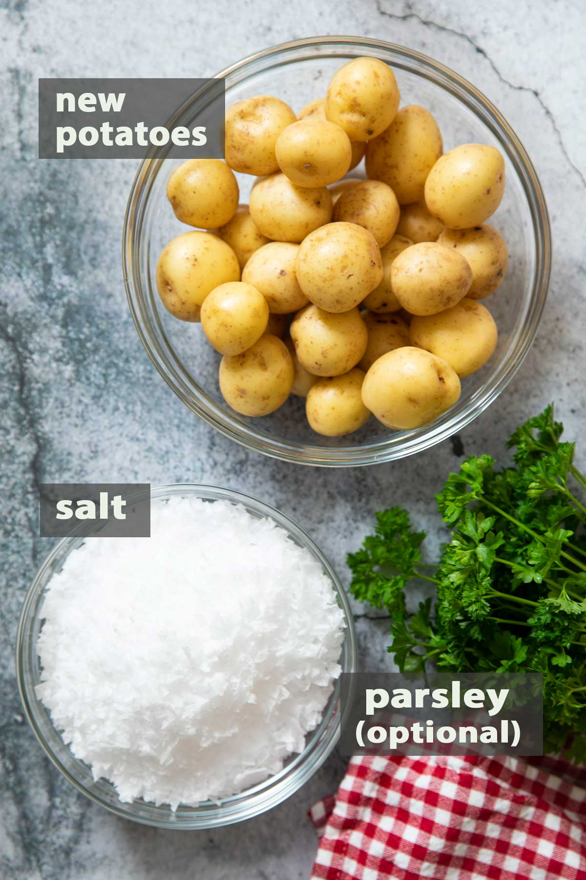 An overhead shot of the ingredients that you need to make Salt-Crusted Potatoes.