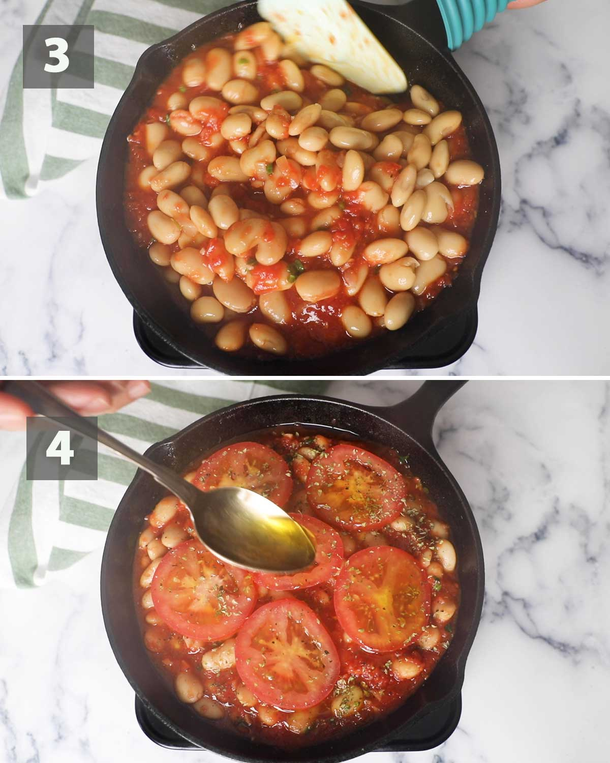Second part of a collage of images showing the step by step process on how to prepare Giant Baked Beans.
