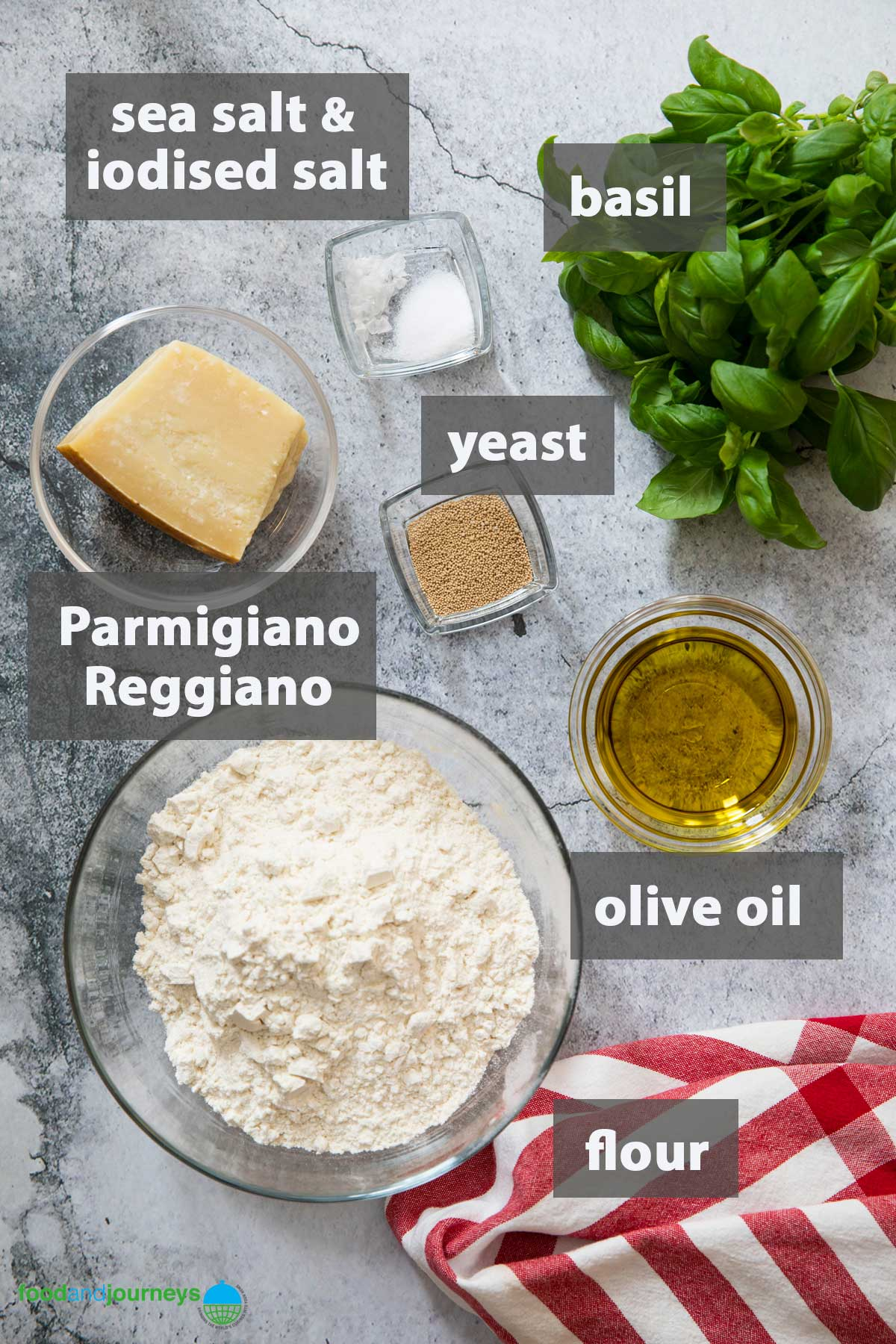 An image showing all the ingredients that you need to make a traditional Basil Focaccia at home.