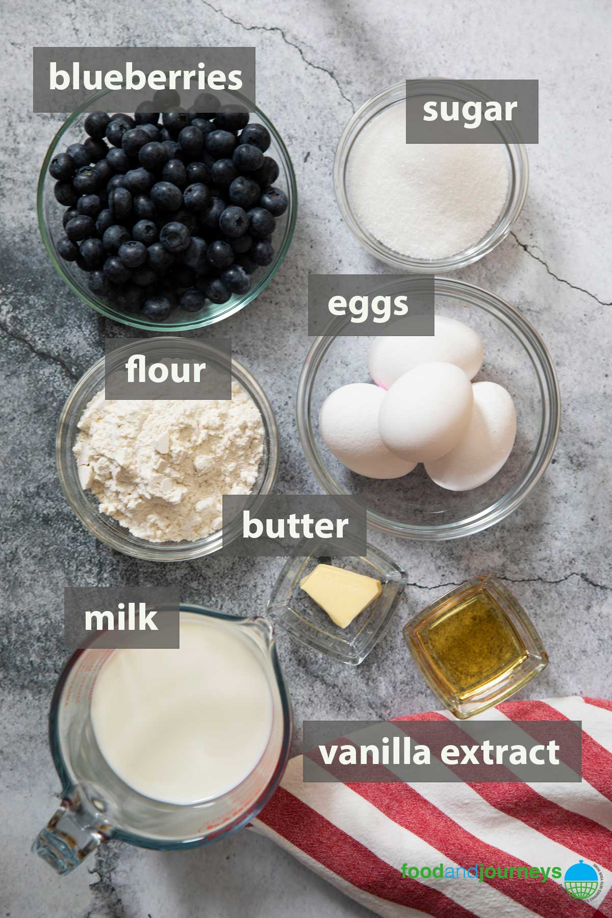 An image showing all the ingredients you need to prepare a simple clafoutis.