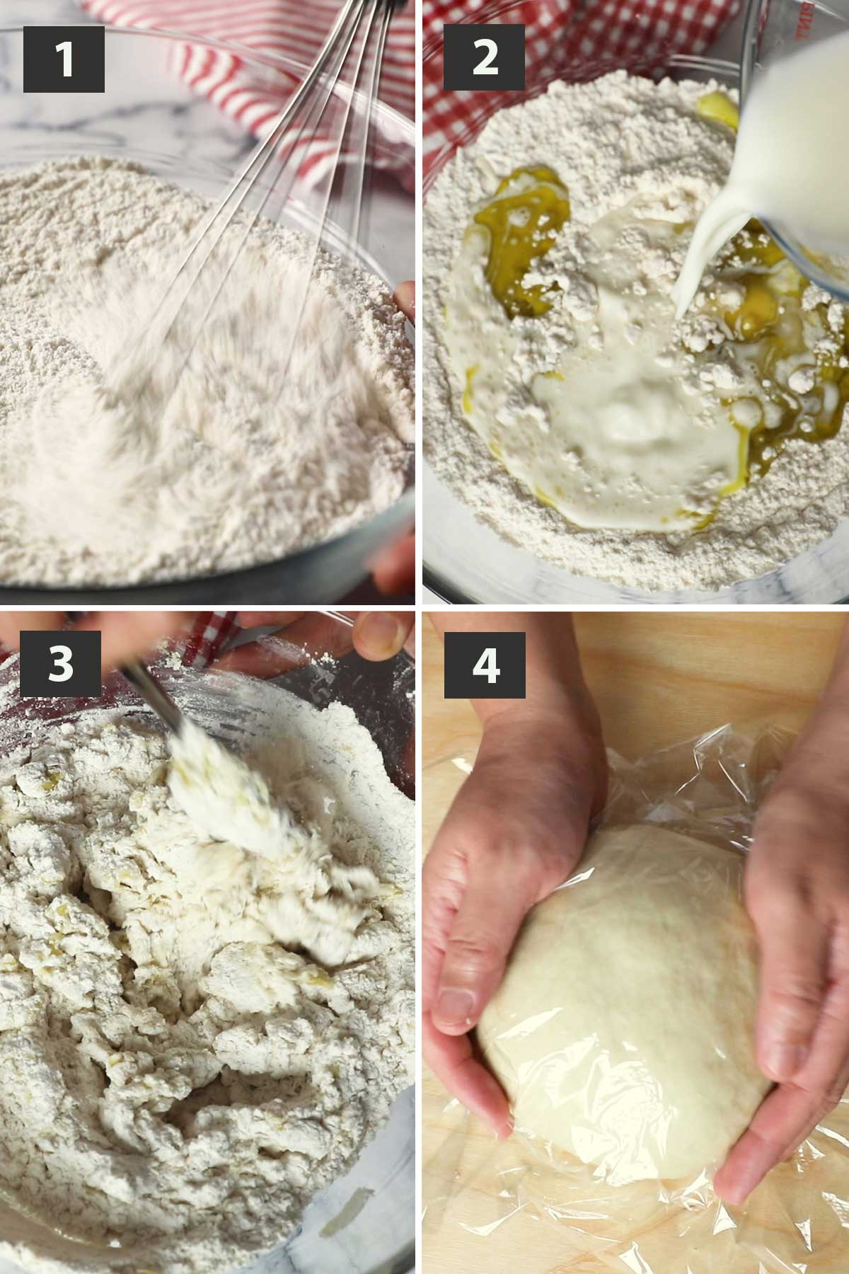 First part of a collage of images showing the step by step process on how to make Italian Flatbread.
