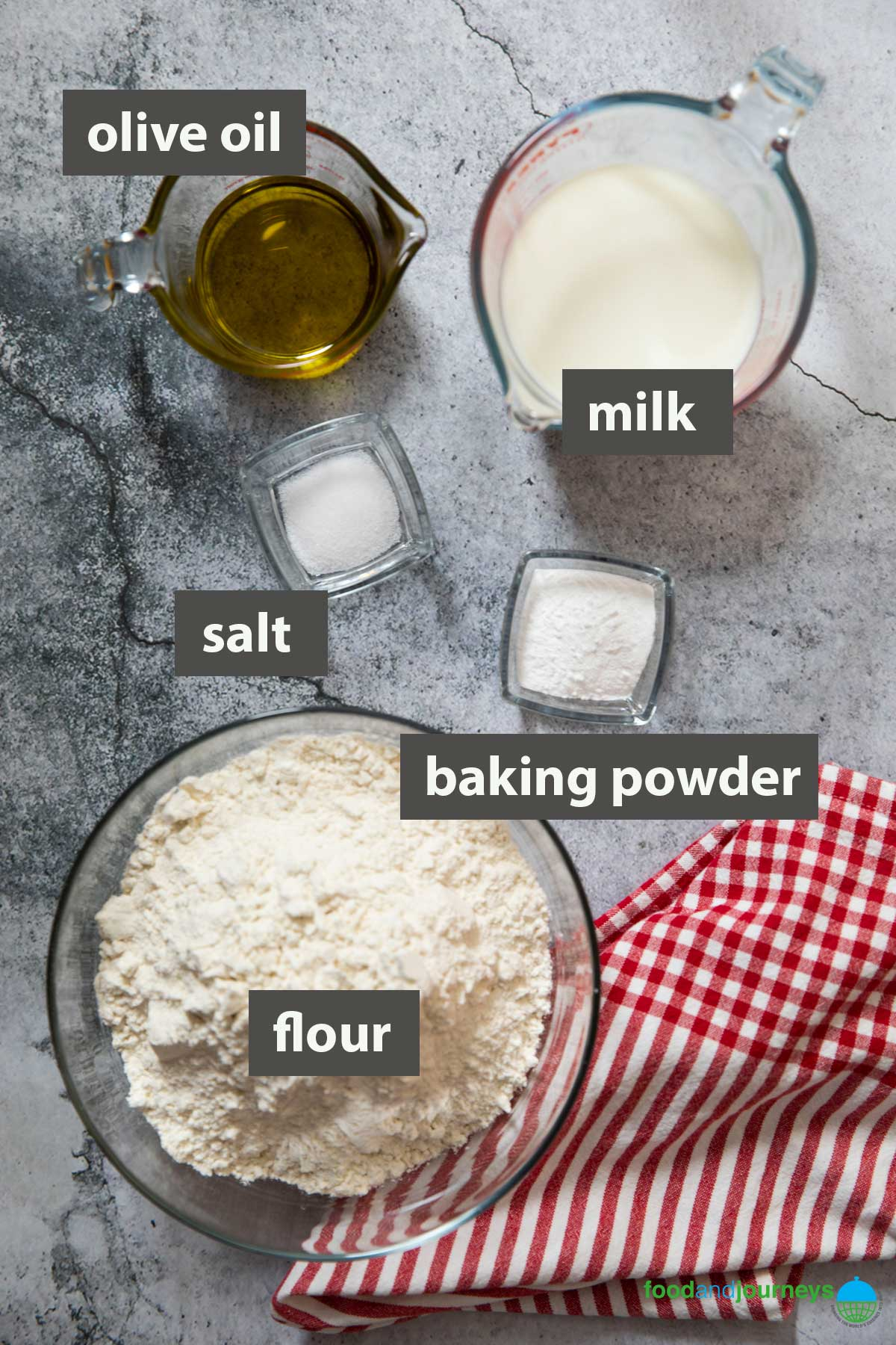 An image showing all the ingredients you need to make no-yeast flatbread at home.