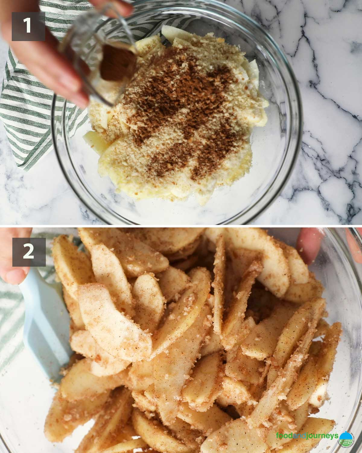 First part of a collage of images showing the step by step process on how to make this Easy Apple Crumble.