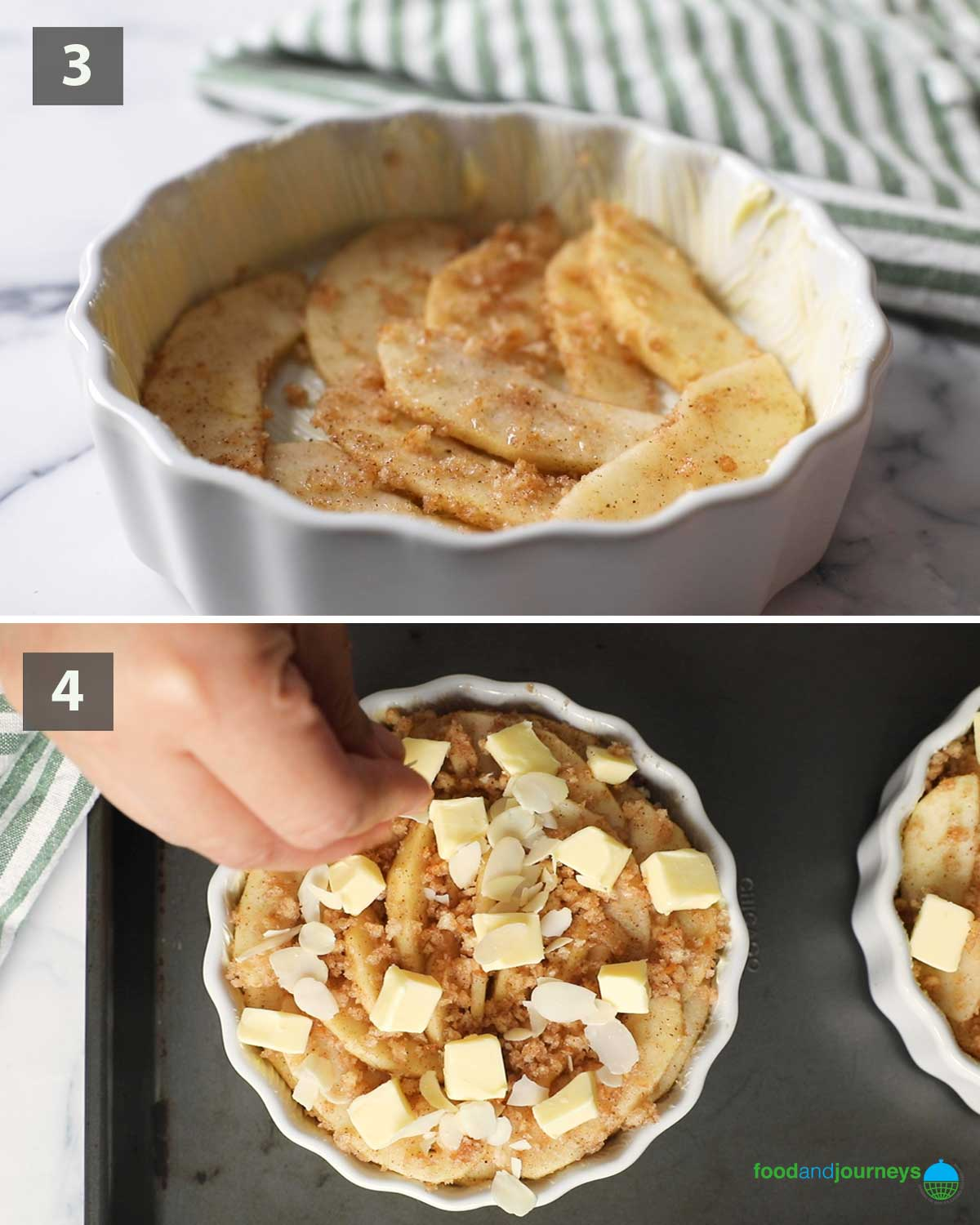 Second part of a collage of images showing the step by step process on how to make this Easy Apple Crumble.