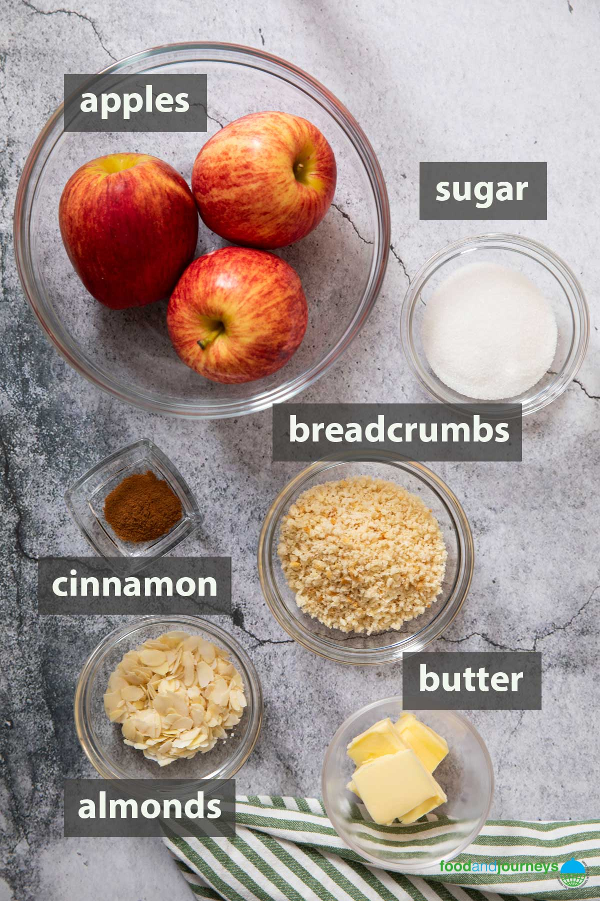 An image showing all the ingredients that you need to prepare Swedish Apple Crumble