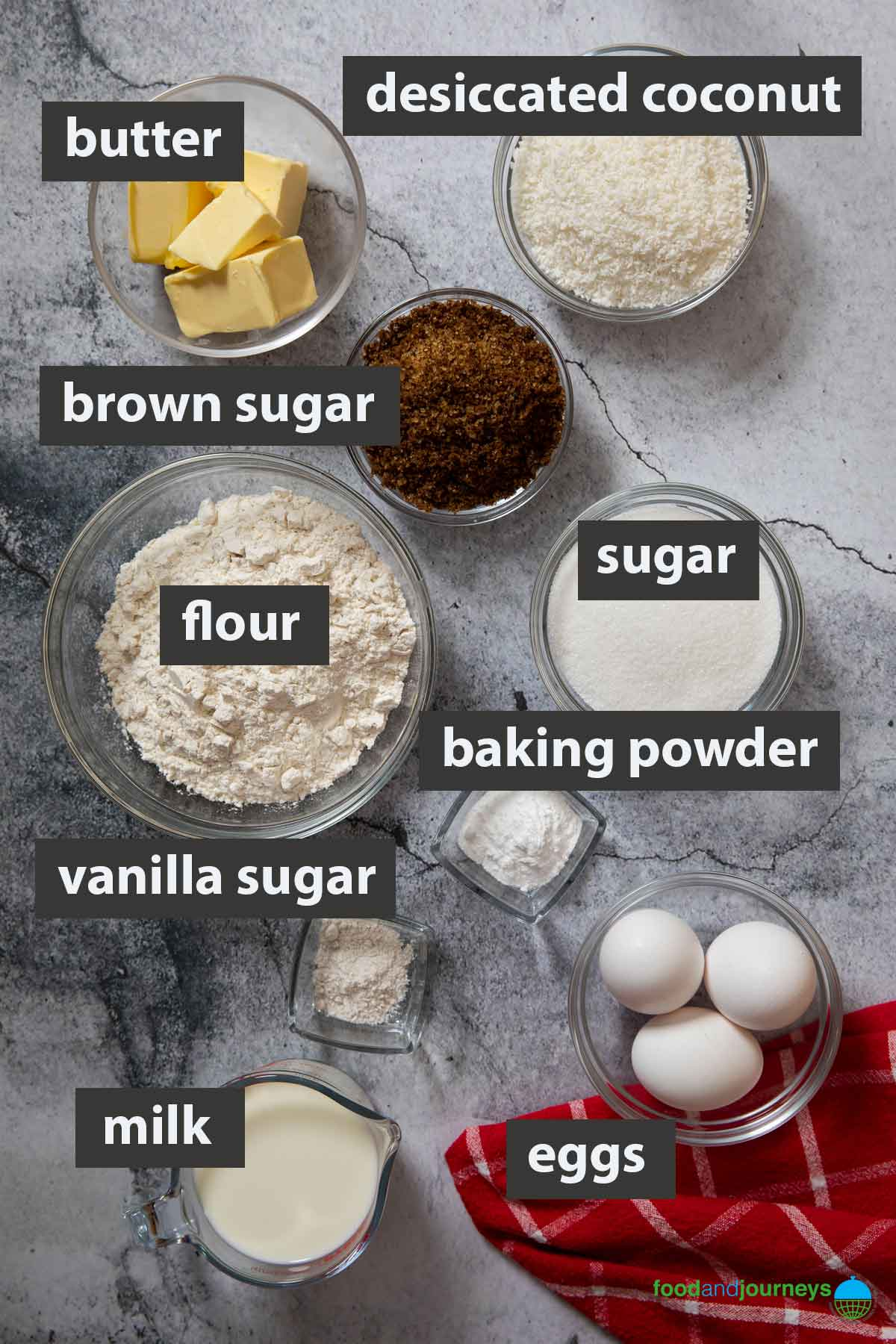 An image showing all the ingredients you need to make Danish Dreamcake.