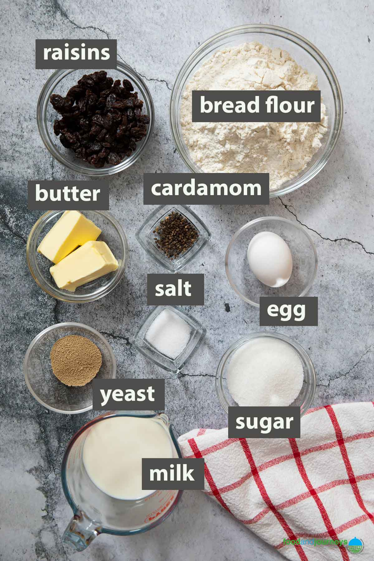 An image showing all the ingredients you need to make Chrismas Bread at home.