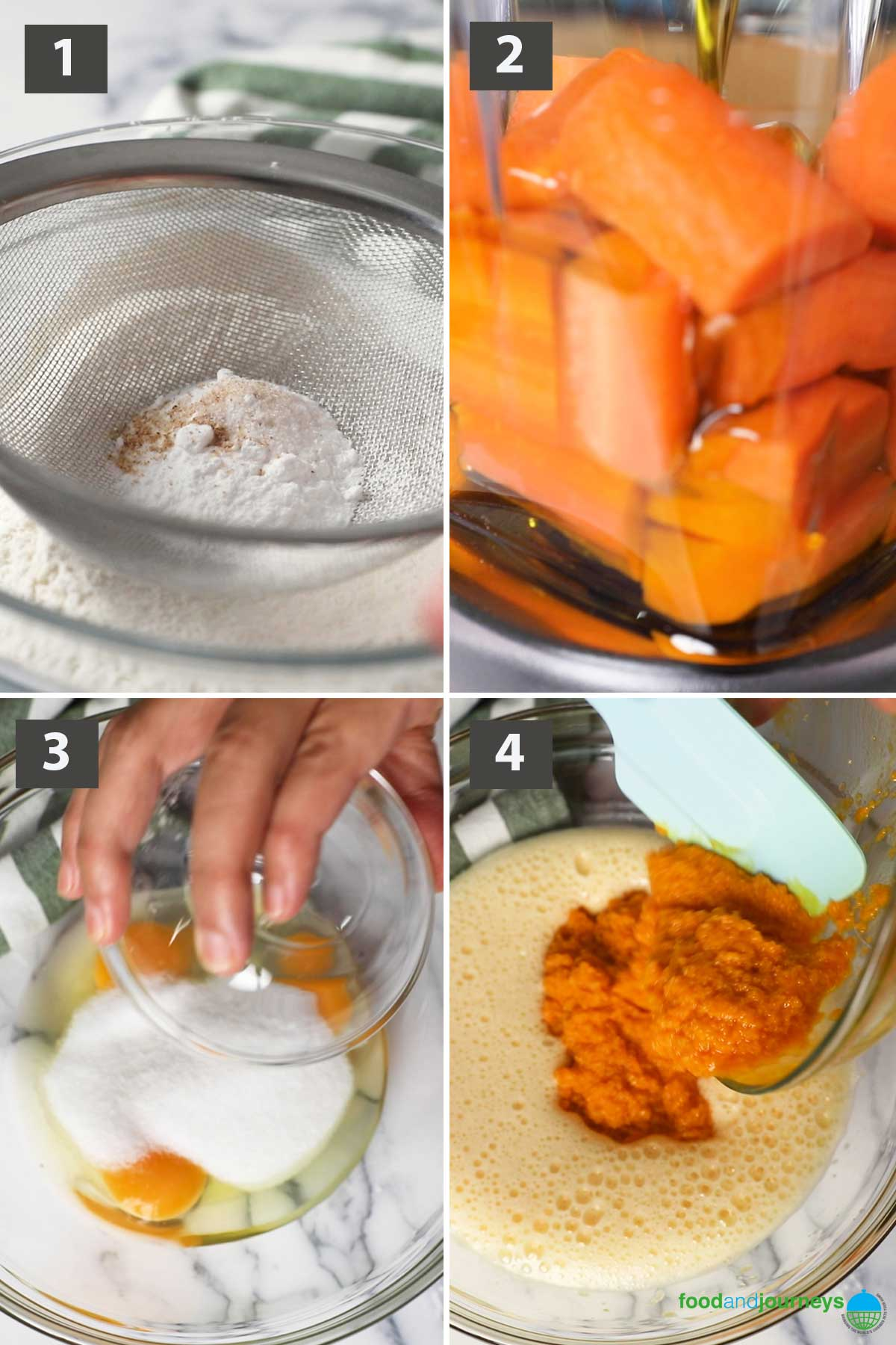 First part of a collage of images showing the step by step process on how easy it is to make carrot cake at home.
