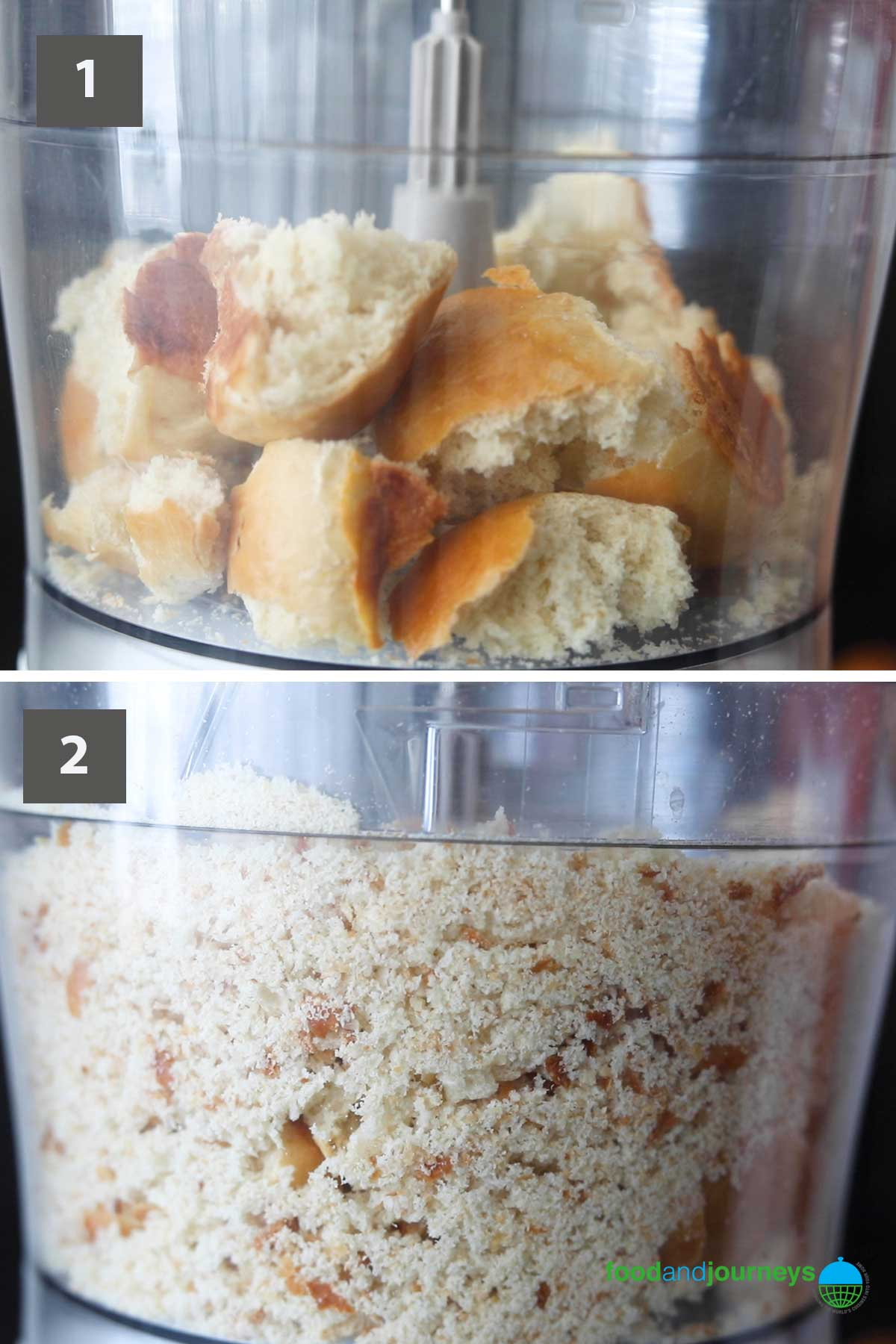 First part of a collage of images showing the step by step process on making your own breadcrumbs.