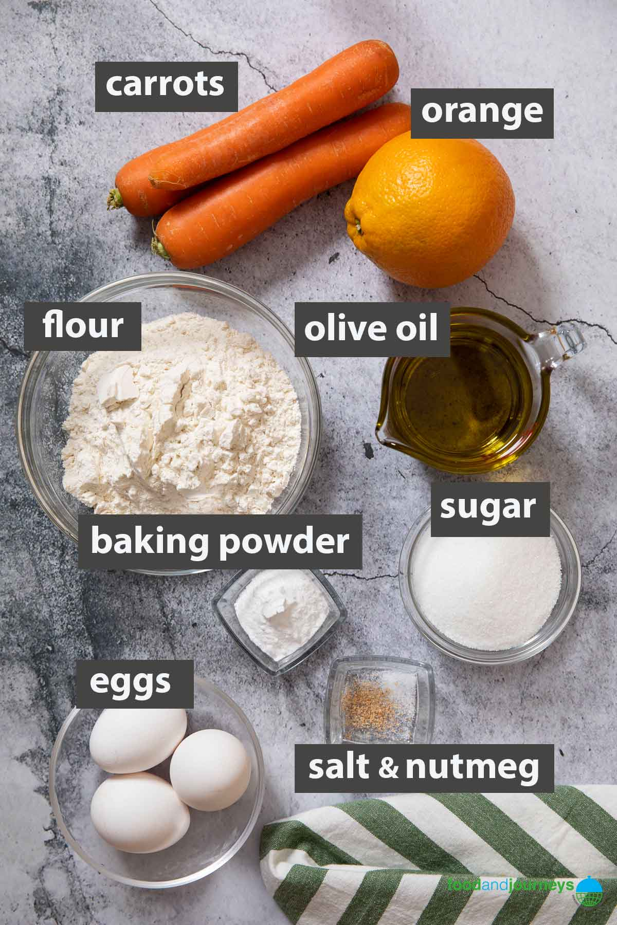 An image showing all the ingredients you need to make a moist carrot cake from scratch.