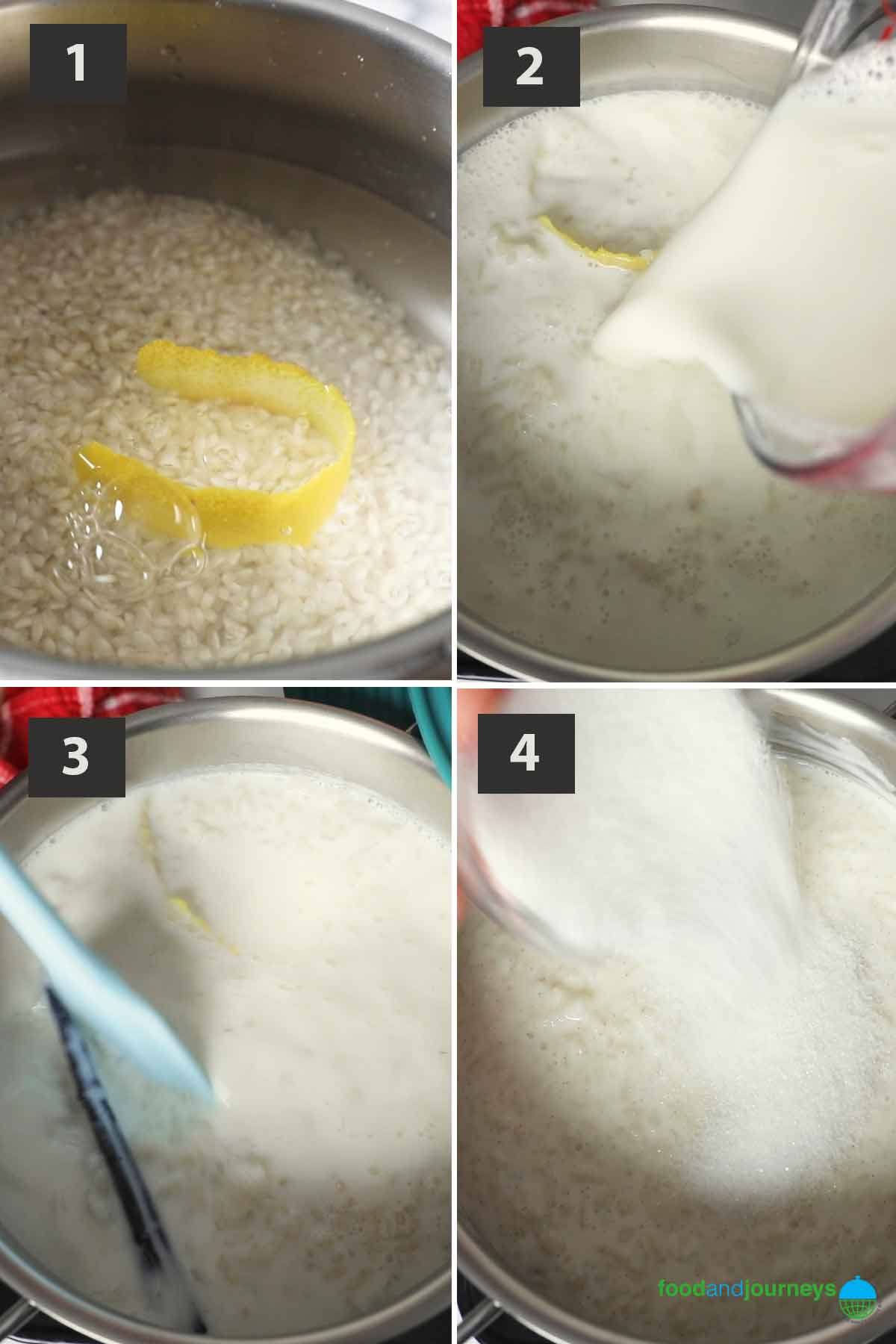 First part of a collage of images showing the step by step process on how to make Portuguese Rice Pudding.