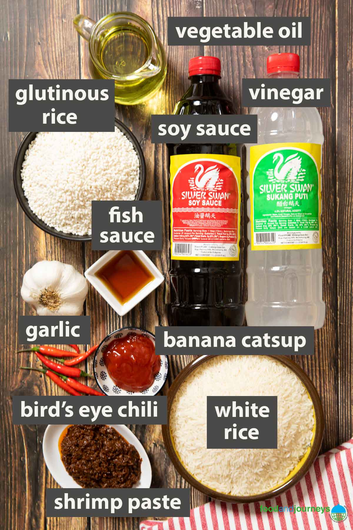 An image showing all the staples that you need for cooking Filipino dishes.