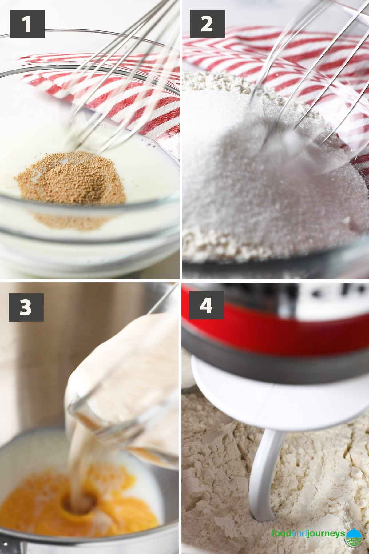 First part of a collage of images showing the step by step process on how to make pandesal.
