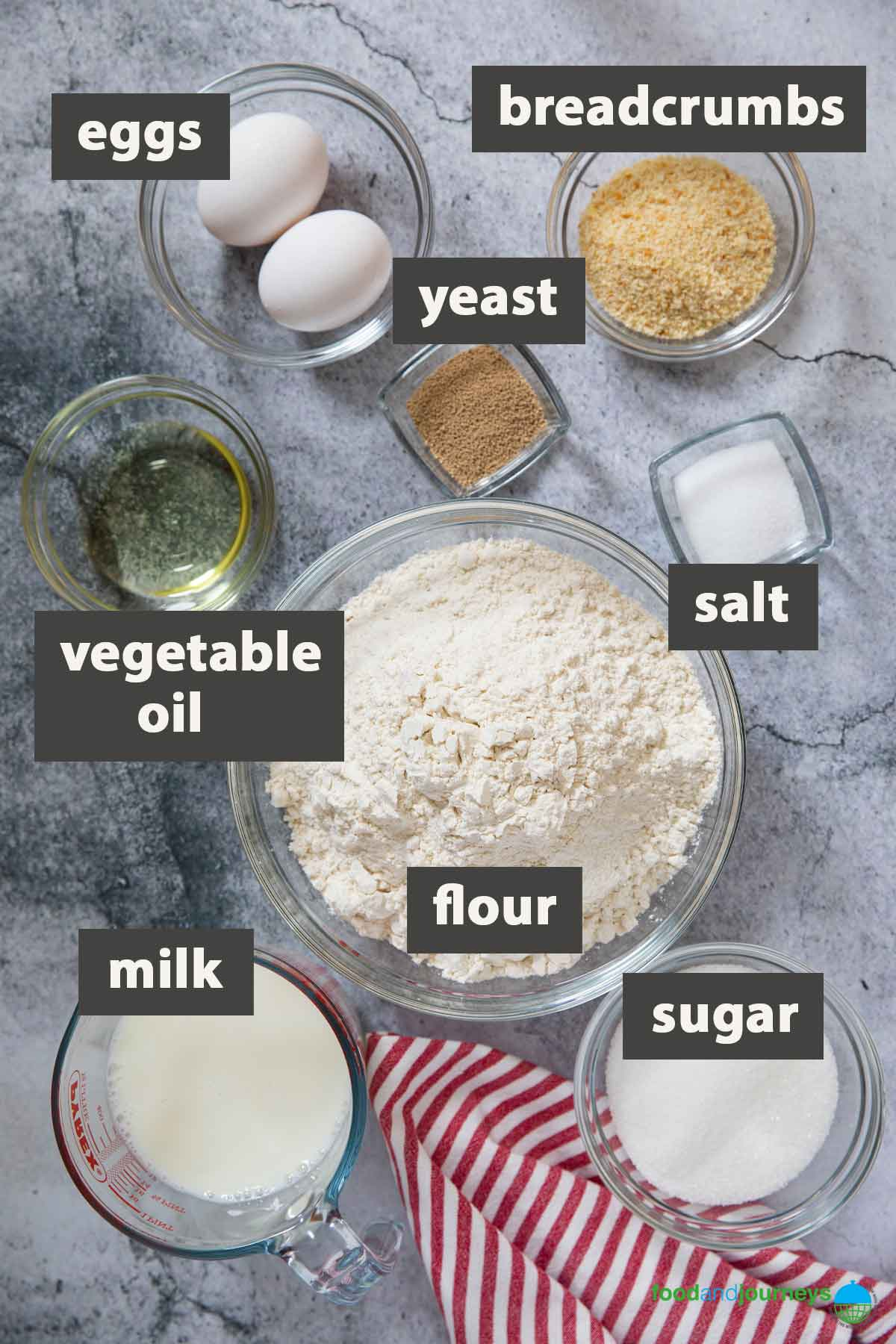 An image showing all the ingredients you need to prepare Filipino Bread Rolls at home.