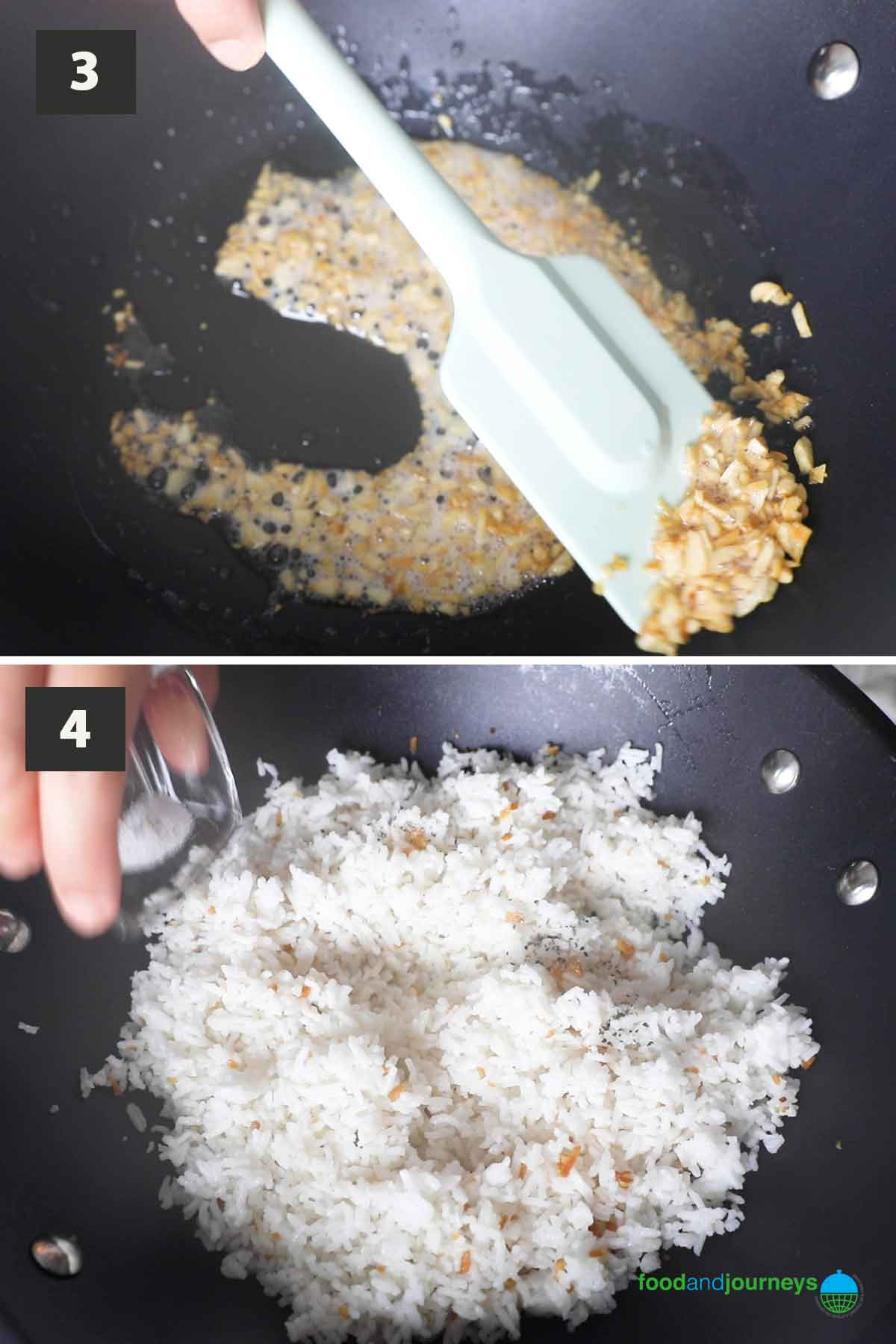 Latest second part of a collage showing step by step process to make garlic fried rice.