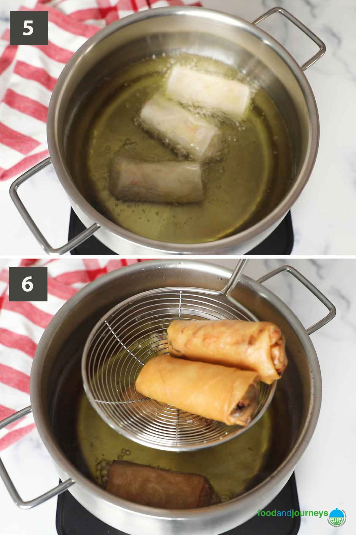 Second part of a collage of images showing the step by step process on how to make lumpia.