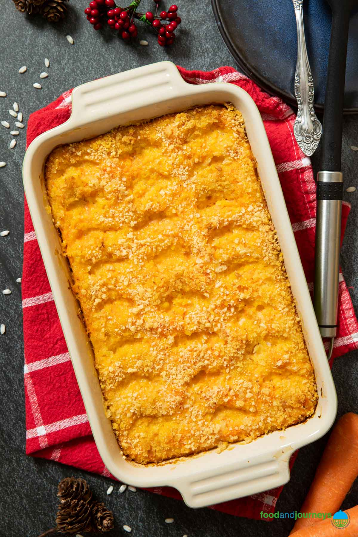 A classic carrot casserole from Finland; always served with baked ham on Christmas tables.