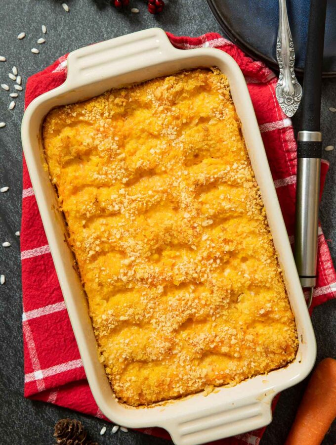 An overhead image of Finnish Carrot Casserole, ready for serving on the Christmas table.