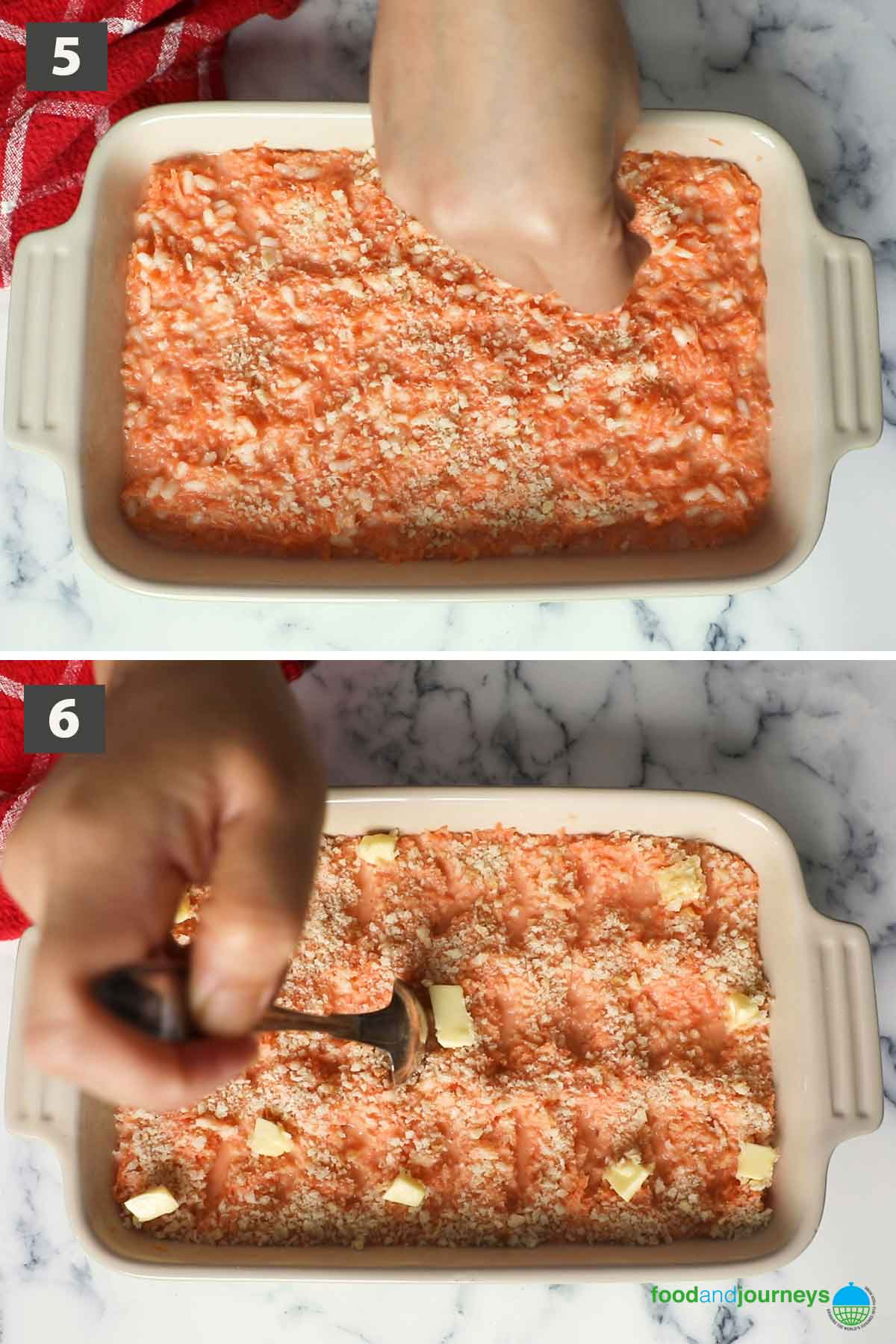 Second part of a collage of images showing the step by step process on how to make traditional Finnish Carrot Casserole.