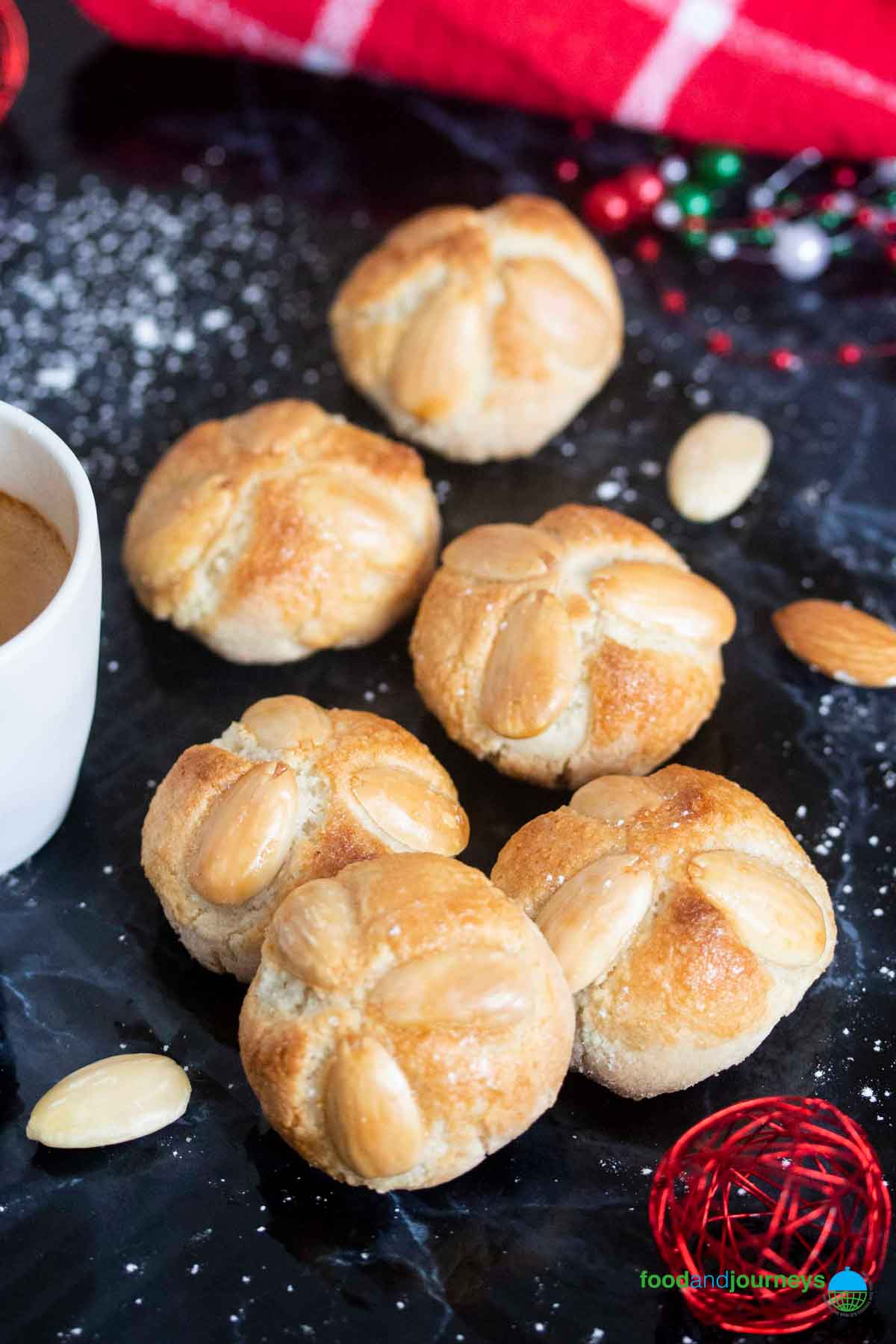 Originally from Frankfurt, Germany, these baked marzipan cookies are simply delicious; served here with a cup of coffee.