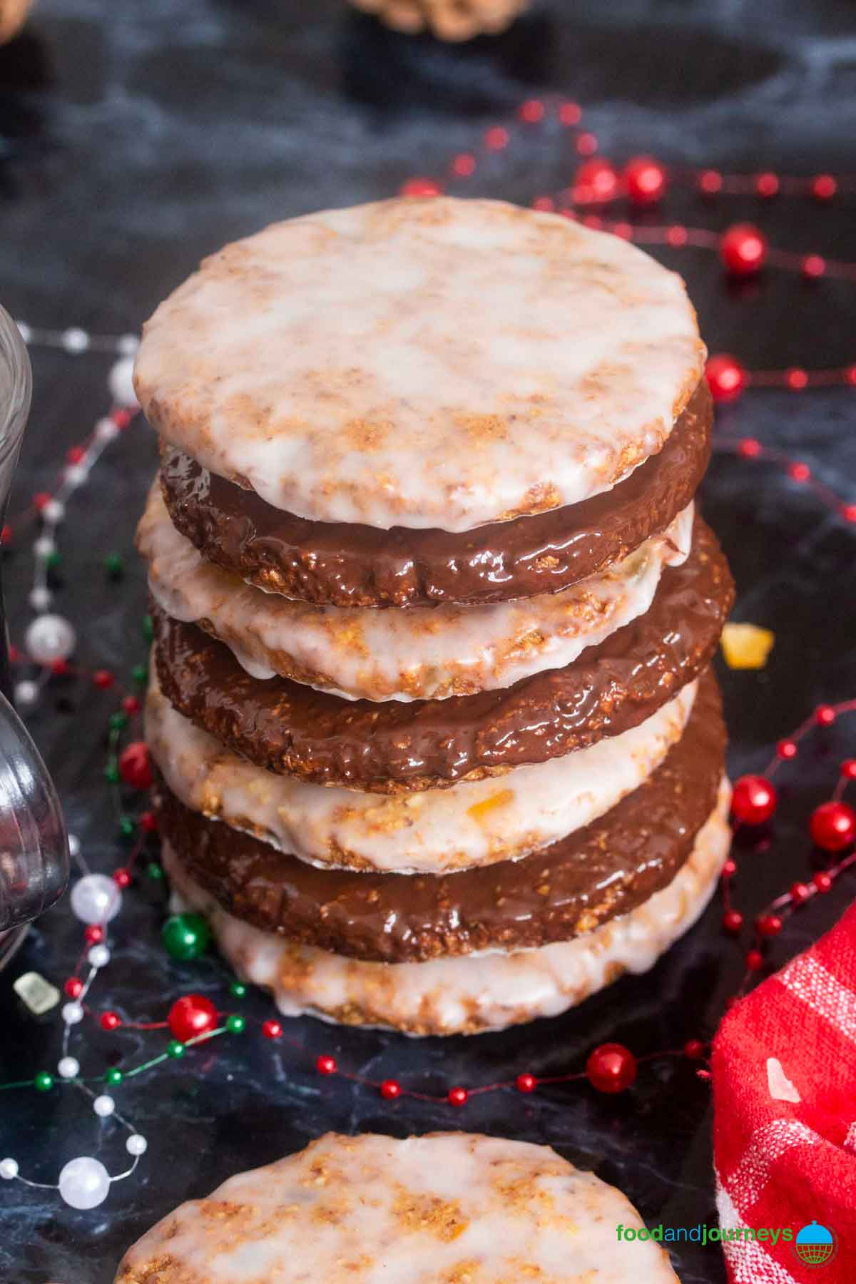 Most popular Christmas cookies in Germany, these flourless cookies are made of ground nuts, glazed with chocolate or icing sugar.