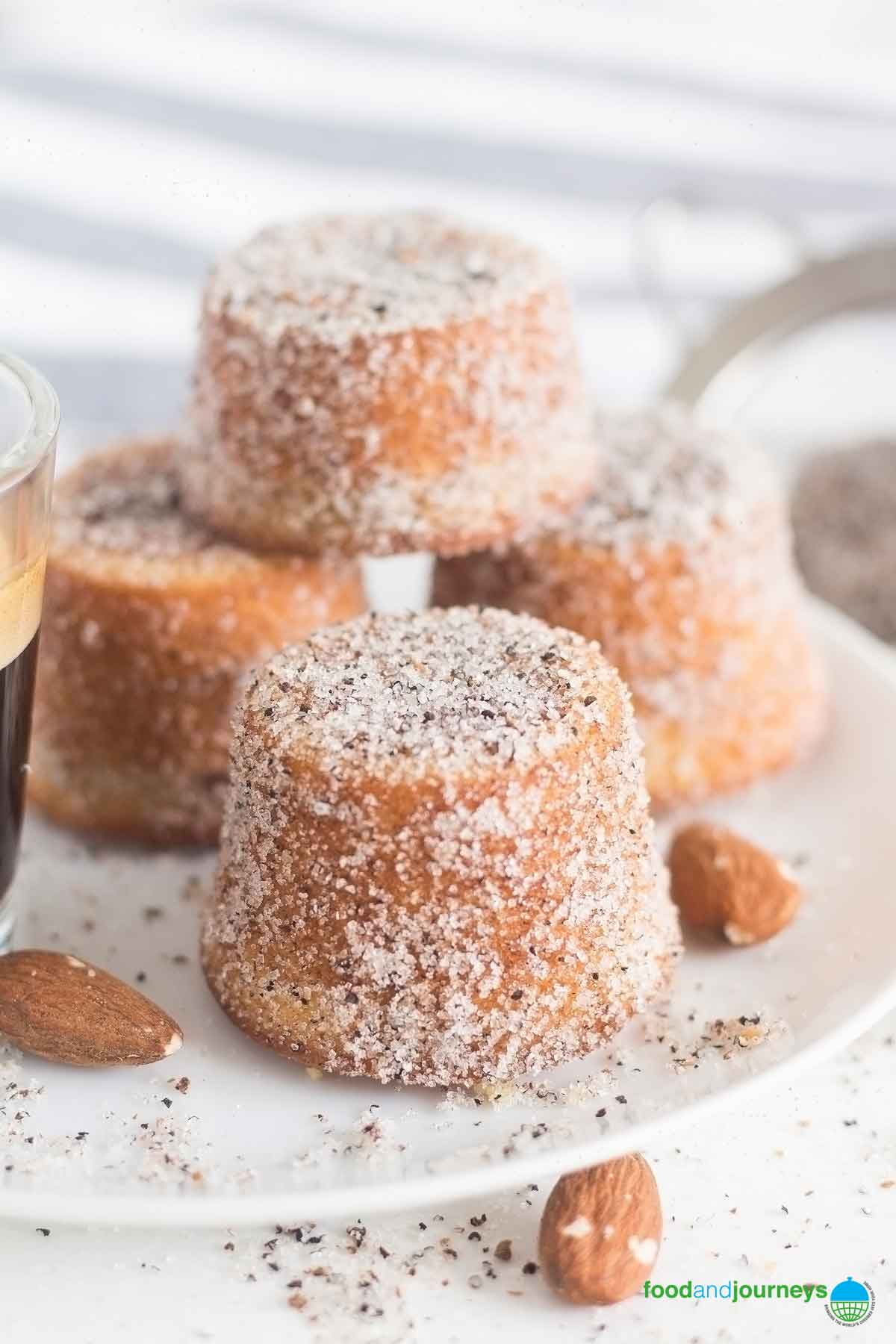 Swedish Almond and Cardamom mini Cakes, dusted with sugar and cardamom.
