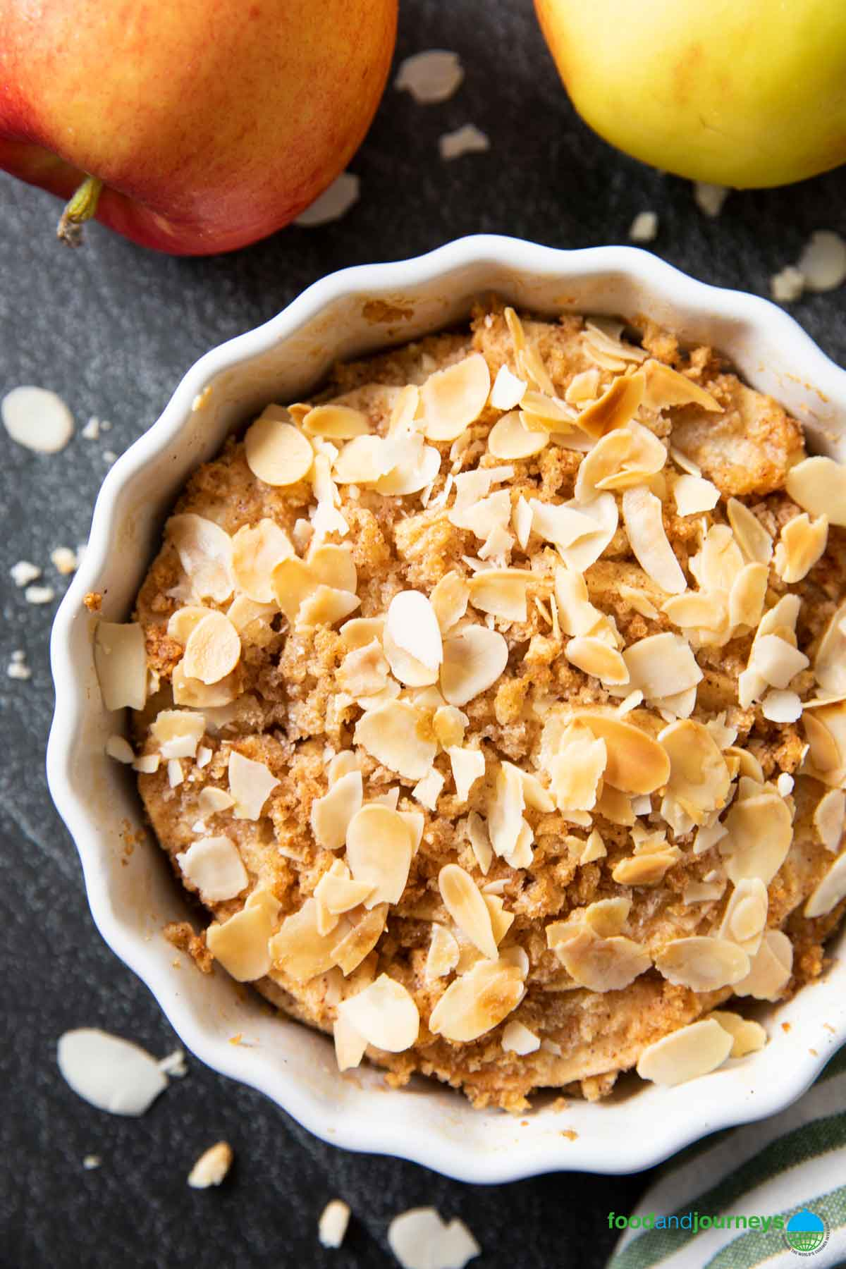 Swedish Apple Crumble, with crunchy almond slices on top.